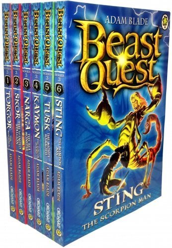 Beast Quest Series 3 Collection - 6 Books RRP £29.94 (13. Torgor the Minotaur; 14. Skor the Winged Stallion; 15. Narga the Sea Monster; 16. Kaymon the Gorgon Hound; 17. Tusk the Mighty Mammoth; 18. Sting the Scorpion Man) (Beast Quest Series 14 compare prices)