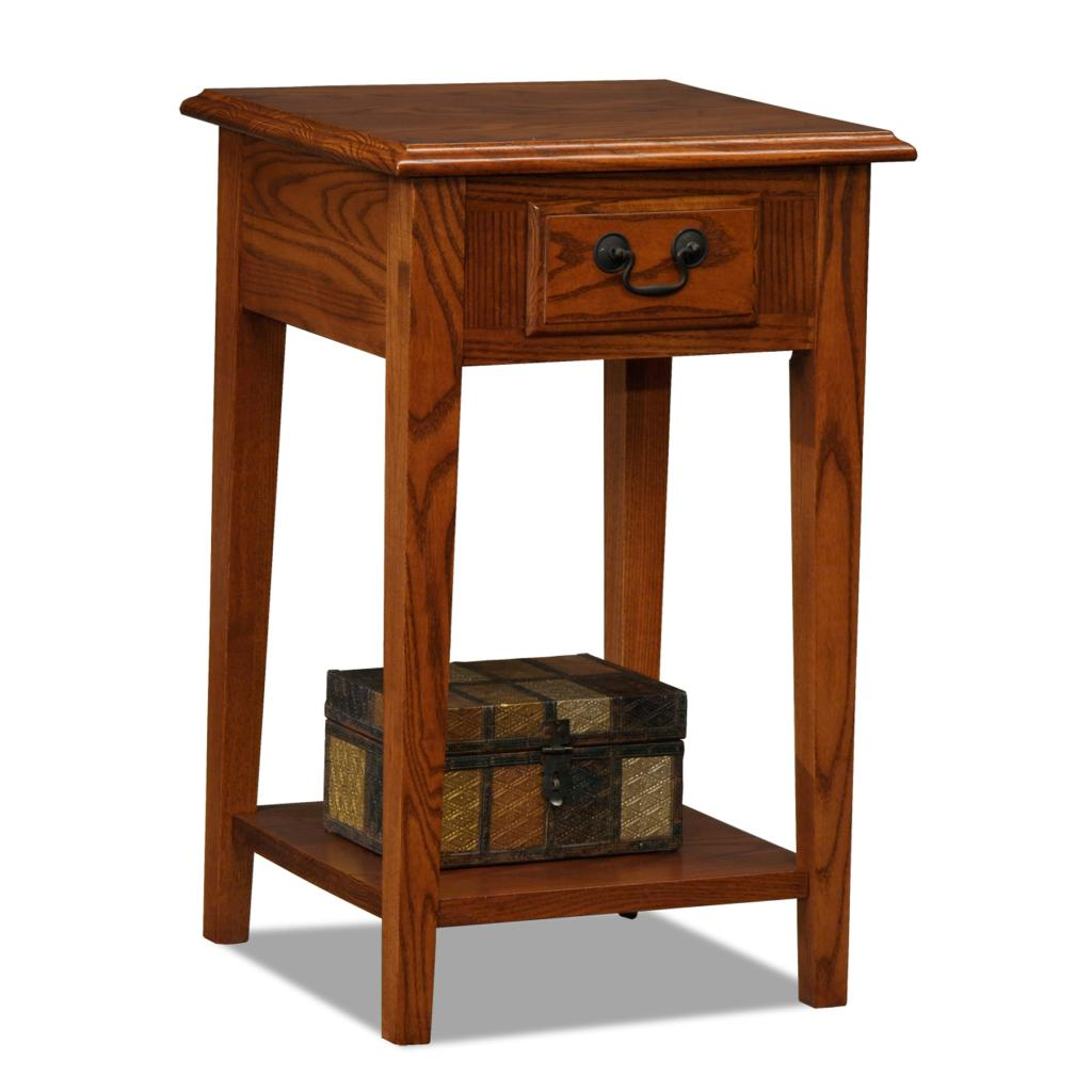 Leick chair side end table medium oak finish for 12 inch accent table