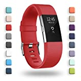 POY Replacement Bands Compatible for Fitbit Charge 2, Classic & Special Edition Sport Wristbands, Red Large, 1PC