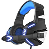 VersionTech Stereo Gaming Headset for PS4 Xbox One, Over Ear Headphones with Noise Isolating Mic, LED Light, Volume Control for Laptop, PC, Tablet, iMac, PSP, Mobile Phone -Blue (Color: blue)
