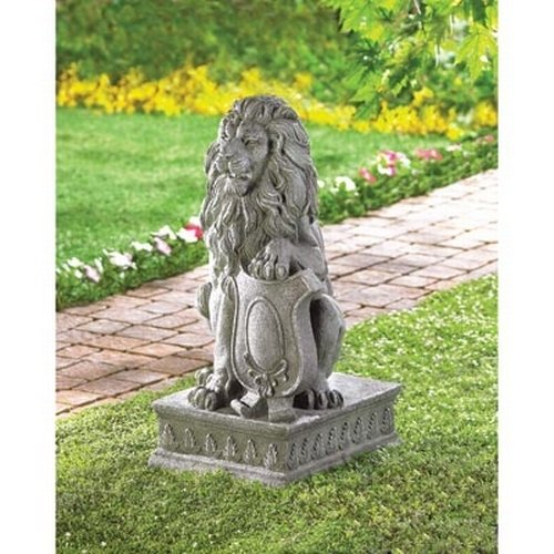 Gifts & Decor Lion Guardian Crested Shield Home Garden Decor Statue