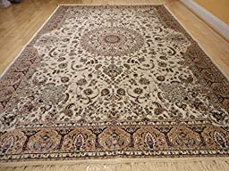 Stunning Silk Rug Persian Traditional Area Rugs Large 8x12 Living Room Rugs Ivory Rug Luxury 8x11 Silk Qum High Density Rug Large Rugs (Large 8\'x12\')