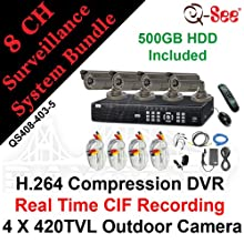 Q-SEE QS408-403-5 8 CH Complete CCTV Bundle Package Kit: 8 Channels H.264 Real Time CIF / D1 Network Standalone Surveillance DVR500GB HDD, 4 X 420TVL 1/4