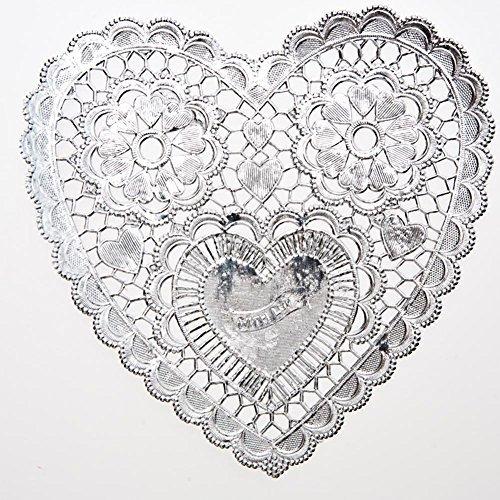 Silver Heart Foil Doilies