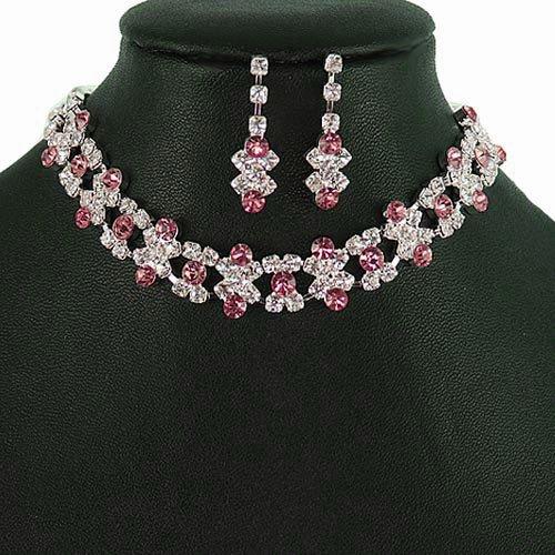 Silver and Dark Pink (Rose) Crystal Rhinestone Choker Necklace Set