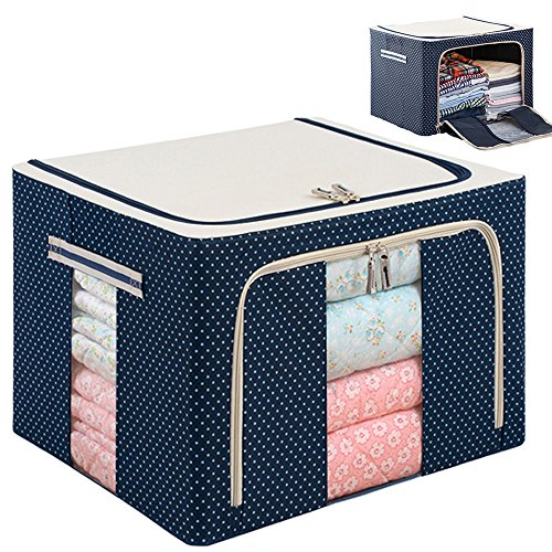 YiHang Stackable Steel Frame Shelf Quilt Clothing Blanket Pillow Shoe Storage Box Holder Container Organizer See-through Window double zipper Folding Waterproof (22L) (Storage Containers Blanket compare prices)