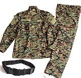 迷彩服 戦闘服 BDU パンツ&ジャケット 上下セット デューティーベルト タクティカル ピストルベルト がセット SSサイズからLサイズまで 幅広いサイズに対応 (L, マーパットウッドランド迷彩(ピクセルグリーン))
