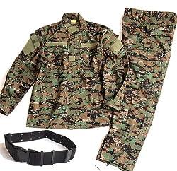 迷彩服 戦闘服 BDU パンツ&ジャケット 上下セット デューティーベルト タクティカル ピストルベルト がセット SSサイズからLサイズまで!幅広いサイズに対応! (M, マーパットウッドランド迷彩(ピクセルグリーン))