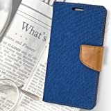 First 4 Covers For Motorola Moto G 2nd Gen Flip Cover Dairy Wallet Case (Canvas Series) (Blue)