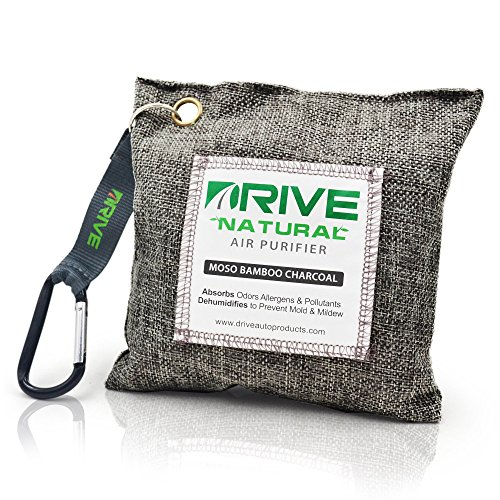 DRIVE Natural Car Air Freshener (Gray) - Best Auto Purifier is Certified Moso Bamboo Activated Charcoal 200g - Unscented Deodorizer, Drying Bag Removes Allergens & Moisture - Prevents Bacteria, Mildew (Car Air Freshener Man compare prices)