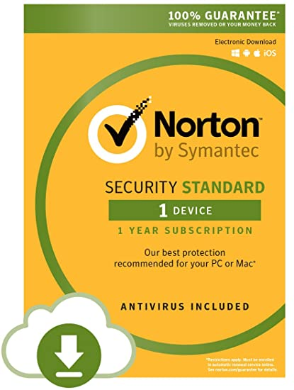 SYMANTEC NORTON SECURITY STANDARD 1 USER 1 DEVICE 12 MONTH (DOWNLOAD)