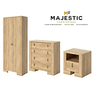 Nebraska 3 piece oak mdf bedroom set - bedside,chest, wardrobe