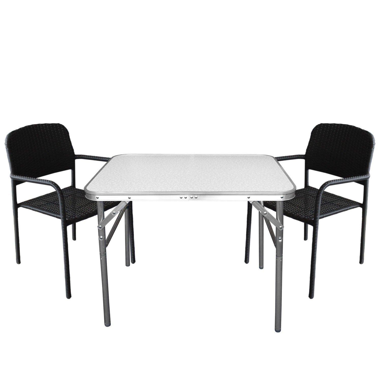 3tlg. Bistrogarnitur Gartengarnitur Gartentisch Klapptisch 75x55x60cm Tisch inkl. 2 Stapelstühle mit Polyrattanbespannung in Schwarz – Campingmöbel / Gartenmöbel Set günstig kaufen