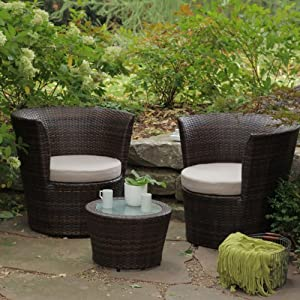 Elegant Sanibel All Weather Wicker Balcony Chat Set