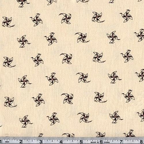 45'' Wide Classic Conversationals Pinwheels Natural Fabric By The Yard