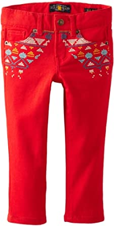 Lucky Brand Little Girls' Embroidered Stretch Twill Pant, Salsa, 6X