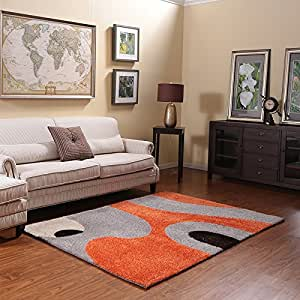 Ustide orange 3d living room carpet high pile for Living room rugs amazon