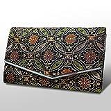 【京都の数珠袋】七宝菊模様(しっぽうほうきくもよう) 紺色 たて9.5cm×よこ15cm マチが広く二輪数珠も入ります (l355)