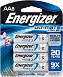 Energizer Ultimate Lithium AA Batteries, World's Longest Lasting Battery for High-Tech Devices, 8 count