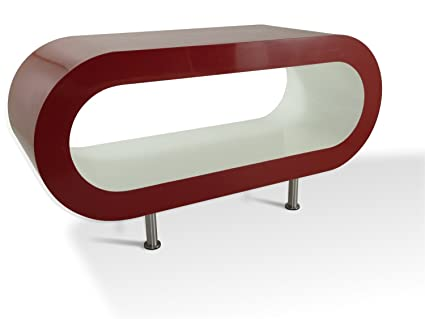 Medium Retro Red and White 90cm Hoop Coffee Table / TV Stand with Feet