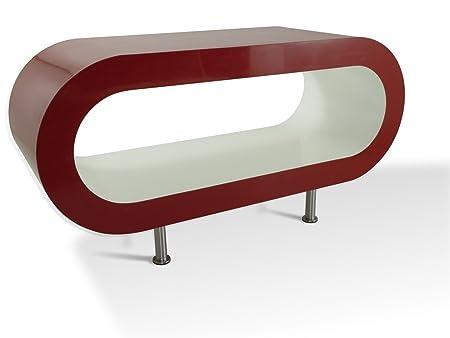 Retro Rojo Mediano y Blanco 90cm Aro Mesa de Café / TV de Pie Con Los Pies