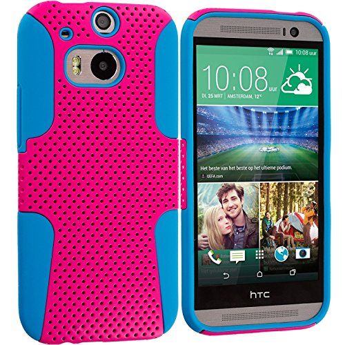 Cell Accessories For Less (Tm) Baby Blue / Hot Pink Hybrid Mesh Hard/Soft Case Cover For Htc One M8 - By Thetargetbuys front-1047849