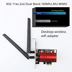 FRTE Network Card, Dual Band Wireless-AC 9260 PC PCIE 2030Mbps WiFi 2.4Ghz/5Ghz MU-MIMO Desktop WiFi PC Bluetooth 5.0 Network Card only for Windows 10 64bit Less Lagging More Bragging Lower Latency