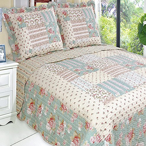 Country Cottage Floral Lightweight Oversized Quilt Coverlet Set King front-56194