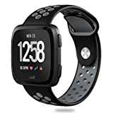 Hagibis Compatible Fitbit Versa Bands Sport Silicone Replacement Breathable Strap Bands New Fitbit Versa Smart Fitness Watch (Black&Gray) (Color: black&gray)