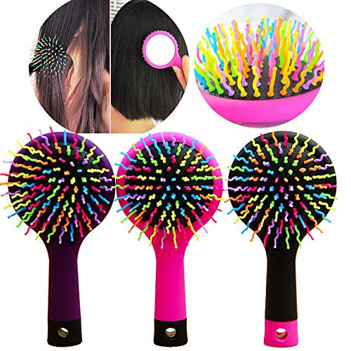 Hot Rainbow Detangling Hair Care Styling Hair Brush Comb Teezer Massage Tangle HairBrush Combs Hairdresser Wet Dry Brush Mirror
