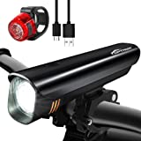 TOPTREK Bike Light Set Bicycle Lights USB Rechargeable Cycling Front Light and Back Rear Light kit Custom-made Battery 8 Hours run-time/Waterproof IPX5/Super Bright CREE LED for Mountain/Road Bike/BMX (Color: Black)