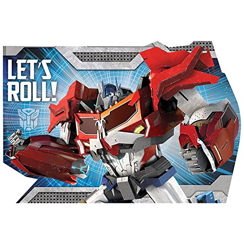 Amscan Mighty Transformers Birthday Postcard (8 Piece), Red/Blue, 6 1/4 x 4 1/4""