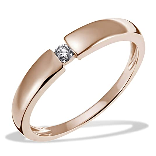 Goldmaid Ladies'Ring 585 Rose Gold Ladies Solitaire Engagement Diamond Ring Brilliant Cut 0,10 Carat)-So R6089RG White
