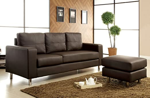 Avon contemporary style Dark brown leather like vinyl Sectional sofa convertible Sofa with ottoman