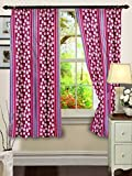 "Cenizas Fancy Polyster Window Curtain Set of 2 - 60""X48"", - Wine (CURT-N0008)"