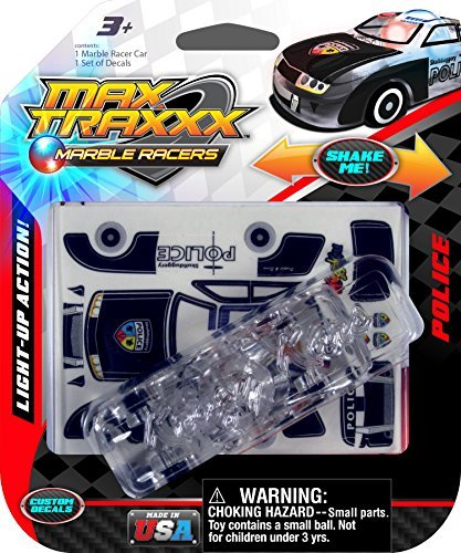 Max Traxxx Police Chief Light Up Marble Racer Car