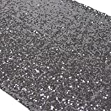 Koyal Sequin Table Runner, 13 by 108-Inch, Charcoal Gray