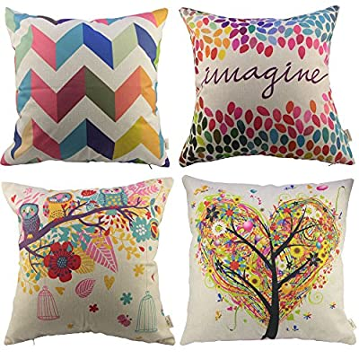 HOSL P110 4-Pack Cotton Linen Square Decorative Throw Pillow Case Cushion Cover ( 1x Owls with Birdcage, 1x Love Tree, 1x Multicolor Zig Zag Chevron, 1x Colorful Imagine )