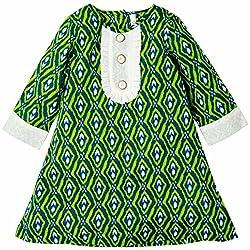 Oye Girls 3/4th Sleeve A-Line Dress - Blue/Green (1-2 y)