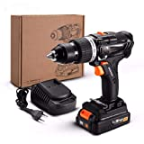SISHUINIANHUA 20-Volt Max Brushless Electric Impact Drill Cordless Screwdriver 2 Ah Lithium-Ion Battery 13Mm 2-Speed 58Nm Torque
