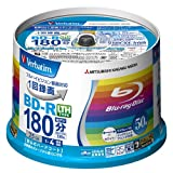Verbatim Mitsubishi 25GB 4x Speed BD-R Blu-ray LTH TYPE Recordable Disk 50 Spindle Pack - Ink-jet printable
