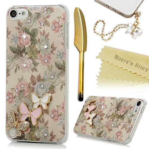 Touch 5 Case,iPod Touch 5th Generation Case - Mavis's Diary 3D Handmade Bling Crystal Lovely Butterflies Shiny Diamonds Clear Hard PC Cover with Colorful Fashion Floral Pattern with Dust Plug & Stylus (Cool Ipod 5th Generation Cases compare prices)