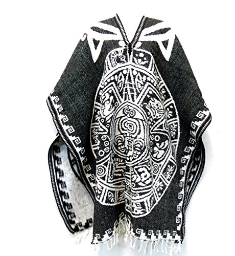 Authentic Mexican Poncho Reversible Cobija Blanket - Aztec Calendar (Black/White)