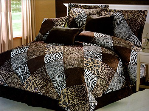 Fancy Collection Queen 7- Pc Safari Zebra Leopard Cheetah Animal Print Microfur Comforter Set Bed In A Bag New front-858232