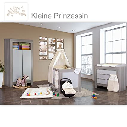 Babyzimmer Felix in akaziengrau 19 tlg. mit 2 turigem Kl. + Kleine Prinzessin in Beige