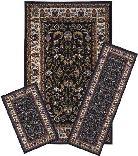 Traditional Oriental Floral Area Rug Set - 3 PC SET ! 5 feet x 8 feet , black,brown,beige carpet, stain resistant, foyer, dining room, living room
