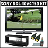 Sony Bravia V-Series KDL-40V4150 40-inch 1080p LCD HDTV + Accessory Kit Bundle with Stand and 3 Year