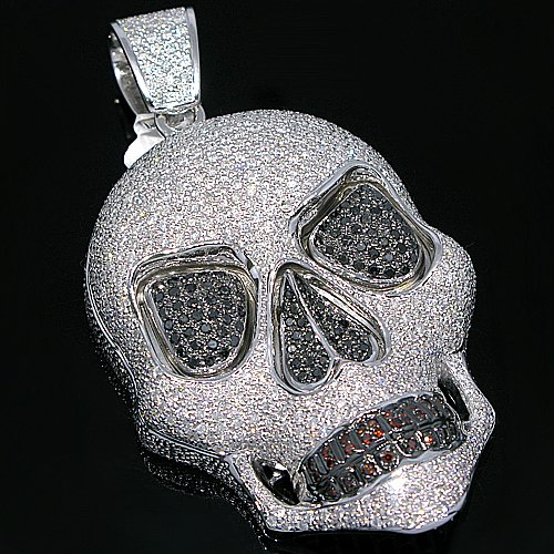 14K White Gold Mens Diamond Skull Pendant  Black