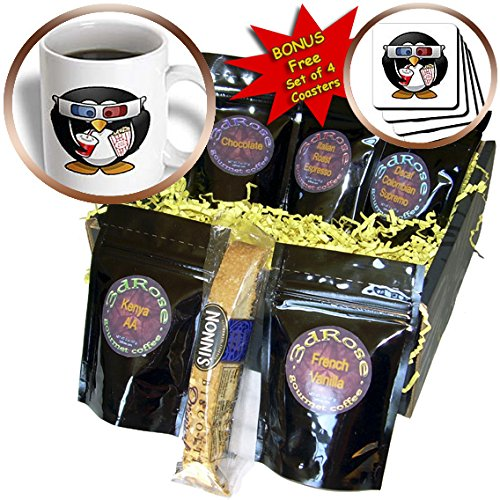 Cgb_193086_1 Florene - Childrens Art Iii - Print Of Cartoon Penguin With 3D Glasses N Popcorn - Coffee Gift Baskets - Coffee Gift Basket