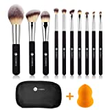 Makeup Brushes,L COSMETIC 10 Piece Makeup Brushes Set Premium Synthetic Bristle Eyeshadow Powder Cosmetic Brushes With Case & 1 Piece Makeup Sponge (Black Silver) (Tamaño: 10)